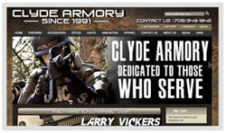 Web Design & Development: sample picture of Clyde Armory Website